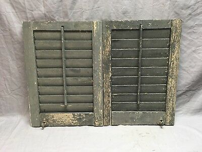 Small Pair Antique House Window Wood Louvered Shutters 20x14 Shabby Vtg 353-18E