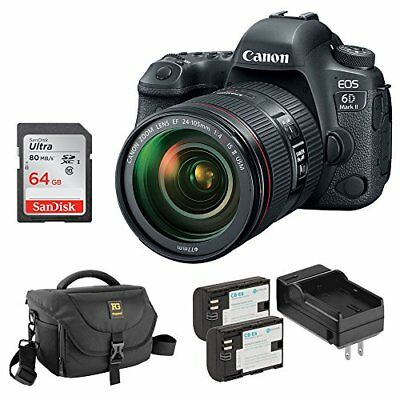 Canon EOS 6D Mark II DSLR Camera with EF 24 - 105mm f/4L IS II USM Lens Bundle