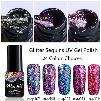 Maphie Soak Off Diamond Glitter UV LED Nail Gel Polish Base Top Coat Gel 6ML