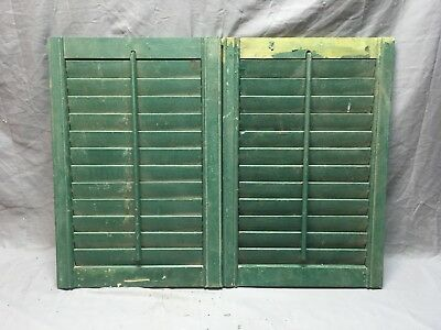 Small Pair Antique House Window Wood Louvered Shutters 24x16 Shabby Vtg 355-18E
