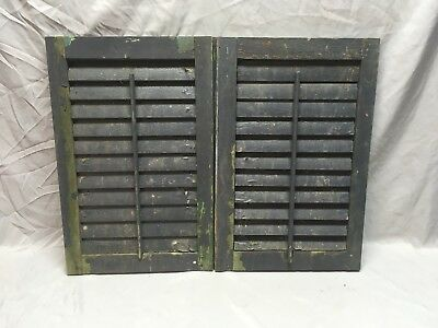 Small Pair Antique House Window Wood Louvered Shutters 24x16 Shabby Vtg 357-18E