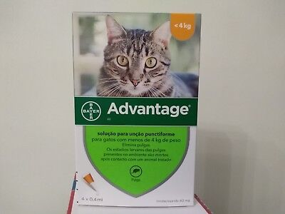 ADVANTAGE¹anti puces chat/cat moins 4 kg Flea Treatment boite de 4 pipettes