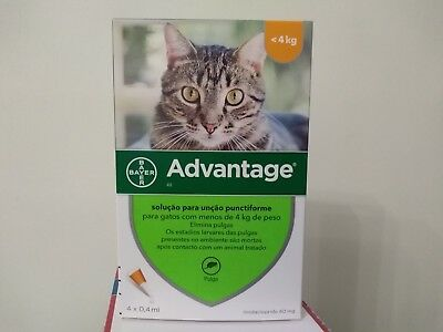 ADVANTAGE 40 anti puces chat/cat  moins 4 kg Fleas Treatment boite de 4 pipettes