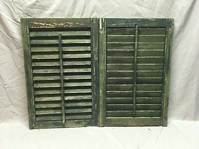 Small Pair Antique House Window Wood Louvered Shutters 26x17 Shabby Vtg 362-18E