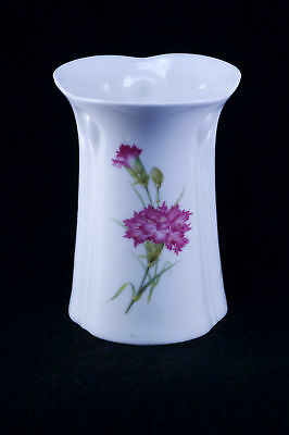 Antique Delicate White Porcelain Hatpin Holder vase w rose colored chrysanthemum