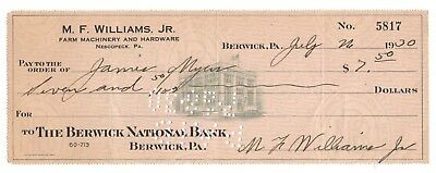Fmra 1930 Berwick National Bank Check Williams Farm Machinery Nescopeck Pa