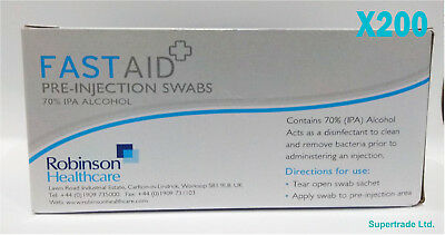 200 X Fast Aid Pre-Injection Swabs 70% IPA Alcohol Wipes Piercing Tattoo Medical