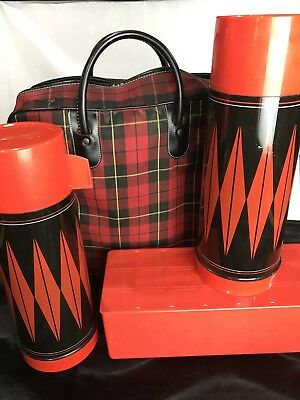 VINTAGE ALADDIN RED DIAMOND THERMOS SET With  PLAID Carry Tote LUNCH BOX PICNIC