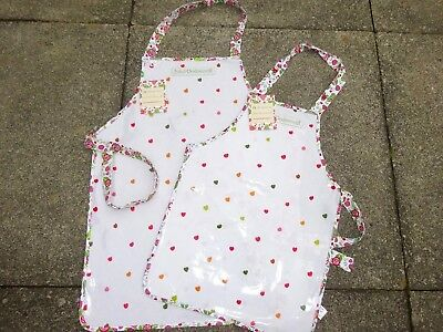 Childrens  PVC Aprons & Tabards in Pretty design of Hearts & Strawberries.