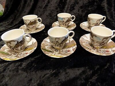 Vintage W.H Grindley 'Quiet Day' set of 6 minature/espresso cups and saucers