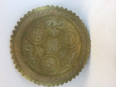Antique Middle East Syria Cario Ware Brass, Silver, Copper Hand Carved Tray