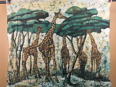 """African Batik Art Hand Painted With Wax Authentic Made In Kenya 36""""x32"""" B95"""