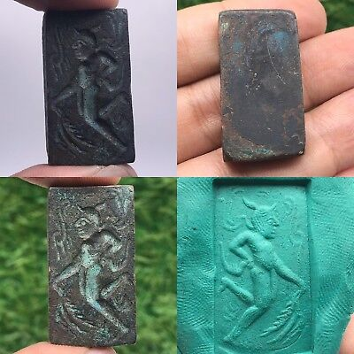 Very Old Wonderful Rare Intaglio Seal bronze Bead