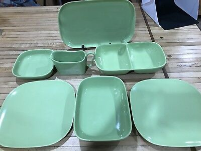 Vintage Retro 7 PieceDish Set California Franciscan Avocado Lime Green Dishes