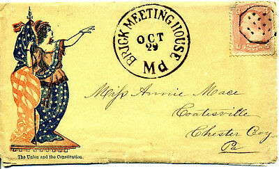 Postal History Civil War Patriotic Cover With Rare Post Mark & Hand Cancelled