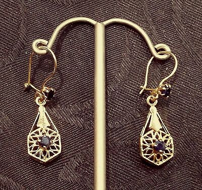 Vintage 14 K Solid Gold Hand Made Filigree Accents Sapphires Dangle Earrings