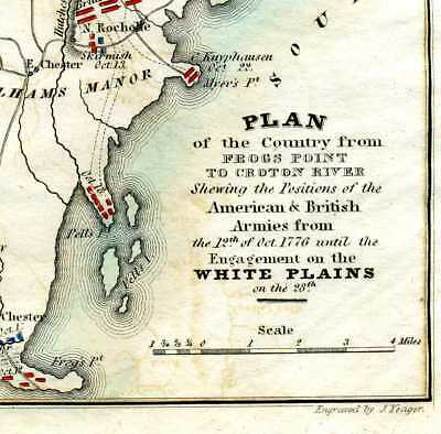 REVOLUTIONARY WAR c1820 MAP OF NEW YORK & BATTLE OF WHITE PLAINS OCOTBER 1776