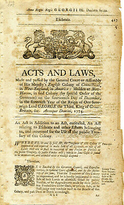 Revolutionary War Connecticut Laws Printed December 1775 To Punish Deserters