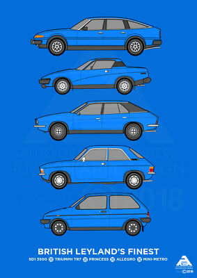 British Leyland Classic Car Collection A3 Poster Print