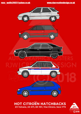 Citroen Hot Hatchbacks Classic Car Collection A3 Poster Print
