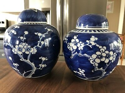 "Beautiful Pair Ca. 1880 Antique Chinese 6"" Lidded Jars w/ Prunus Blossom Design"