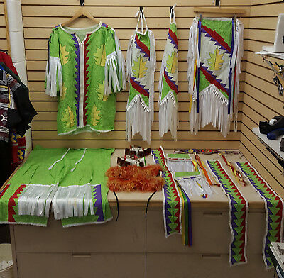 Mens 15 Piece Ribbonwork Design Native American Indian Ribbon Grass Dance Outfit