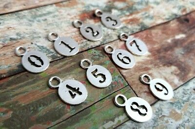 """31 Number Charms Antiqued Silver Tone Assorted Pendants 3//4/"""" Tokens Tags Set *"""