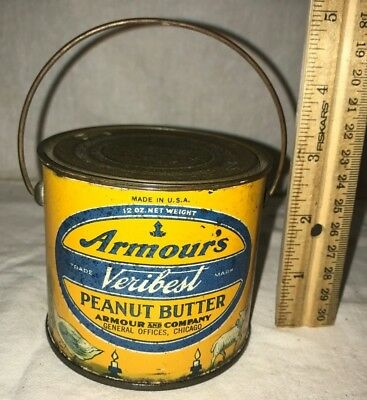 Antique Armours Veribest Peanut Butter Tin Litho Pail Nursery Rhyme Children Can