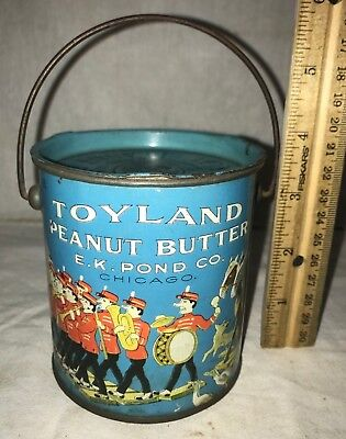 Antique Toyland Peanut Butter Tin Litho Pail Can Vintage Circus Parade Grocery