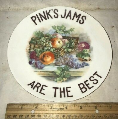 Antique Pink's Jams Are The Best Porcelain China Plate Sign Vintage Fruit Jelly