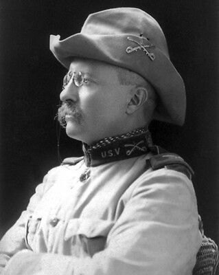 1898 Colonel THEODORE 'TEDDY' ROOSEVELT Glossy 8x10 Photo 'Rough Rider' Print