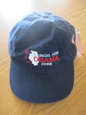 New With Tag Navy Blue Illinois For Obama 2008 Baseball Hat  Adjustable Strap