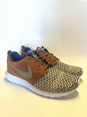 3d0b1dff8b43 Nike Roshe NM Flyknit Premium Tawny Shoes Men s Size 10 Blue Gold 746825-402  NEW