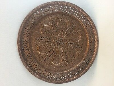 Antique Middle East Copper Hand Carved Tray