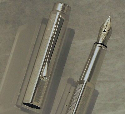 Caran D'ache Ecridor Chevron Fountain Pen, Rhodium Plated, M Nib, Near Mint