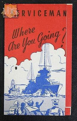 """WW2 US Homefront """"Serviceman- Where are you going?"""" Brochure Leaflet"""