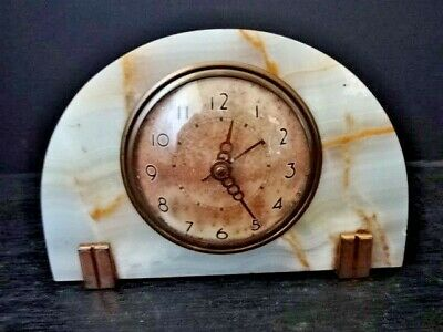 Vintage Arts & Crafts Seth Thomas Clock Marble & Brass not working sold as is
