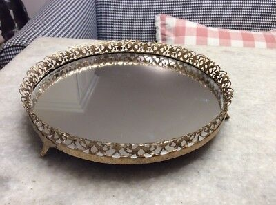 Vintage Round Gold Filigree Footed Mirrored Vanity Tray