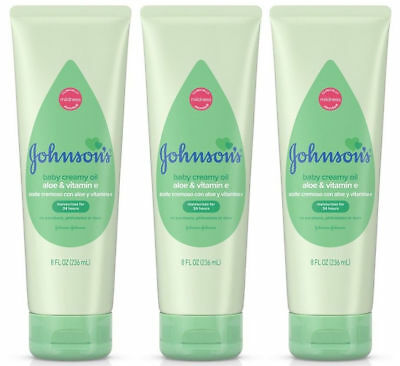 3x - Johnson's Baby Creamy Oil Aloe Vera & Vitamin E New Sealed 8oz - Free Ship