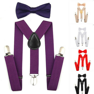 Adjustable Suspenders and Bow Tie Set Braces Elastic Y-back for Baby Kids