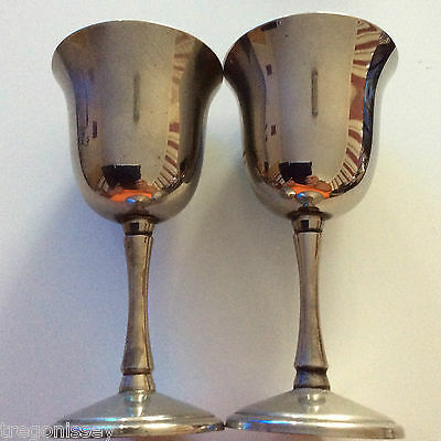 Silver Plated Goblets x 2   14cm High    7cm Diameter