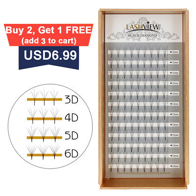 LashView Premade Fan Volume Eyelash Extensions 3D 5D 6D Pre fanned Lashes C Curl