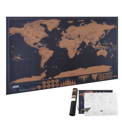 Poster Large Poster Scratch Travel Off Flags Wall Decor Scratchable Word Map