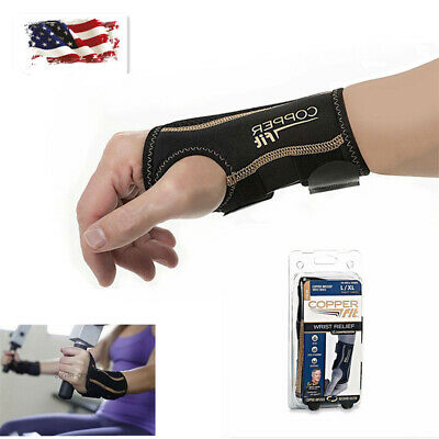 New COPPER FIT Infused Wrist Relief Support Compression Brace Right Hand Gloves