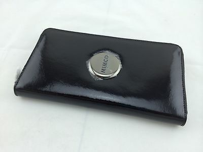 MIMCO TRAVEL WALLET BLACK Patent Leather Gunmetal Badge - CLEARANCE