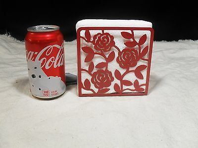 Brand New ~ Rose Bud Cutout Design ~ Metal Napkin Holder ~ Red