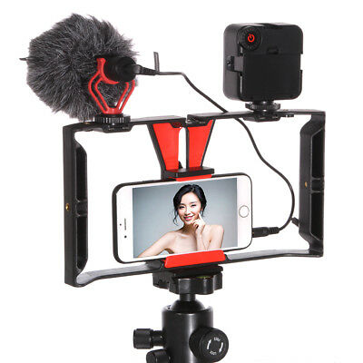Smartphone Video Camera Cage Handheld Rig+49 LED Light+BY-MM1 Microphone Mic US