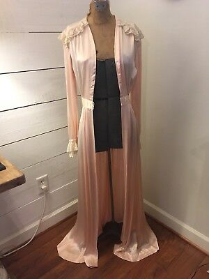 Vintage 1930-40s pink Satin Full Length Robe Old World Hollywood Women's xSmall