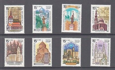 Russia 1990 Churches Monuments mint unhinged set 8 stamps.