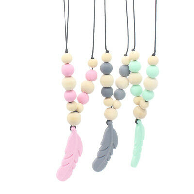 Baby Silicones Teether Chain Charm Feather Beads Necklaces Teething Toy Jewelry^